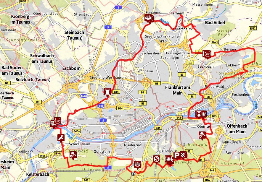 Frankfurt Karte Europa.Wandern Um Frankfurt Trekking Europa